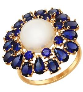Кольцо из золота с корундами сапфировыми (синт.) и жемчугом 791039