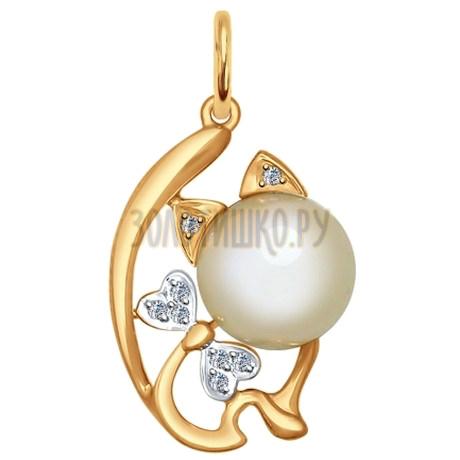 Подвеска из золота «Кошка» с жемчугом и фианитами 793010