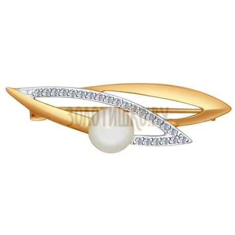 Брошь из золота с жемчугом и фианитами 794003