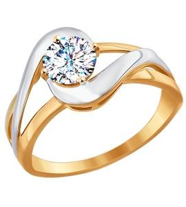 Помолвочное кольцо из комбинированного золота со Swarovski Zirconia 81010247