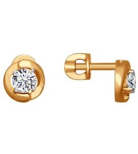 Серьги-пусеты из золота со Swarovski Zirconia 81020193