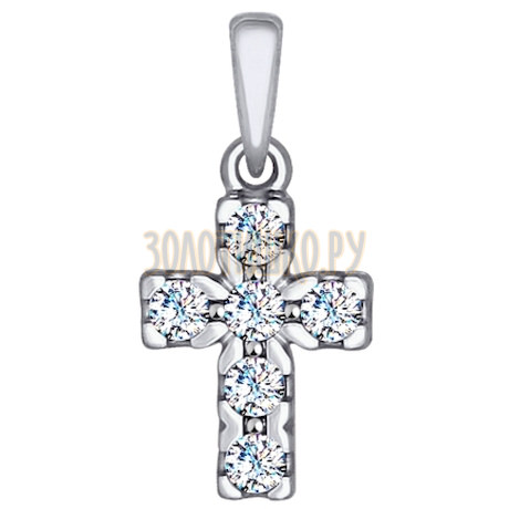 Крест из белого золота со Swarovski Zirconia 81030064