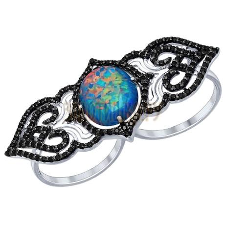 Кольцо на два пальца из серебра с чёрными фианитами 83010012