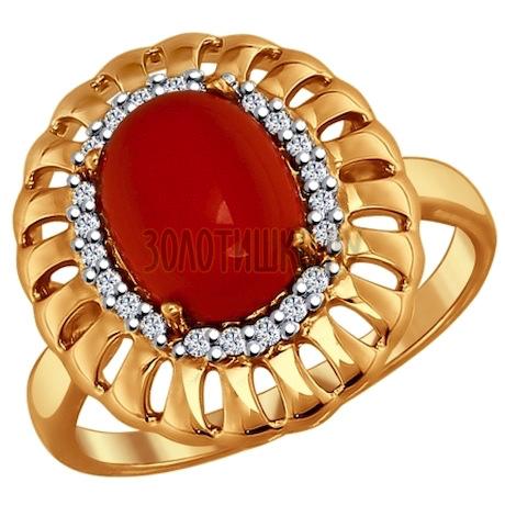 Кольцо из золочёного серебра с красным кораллом и фианитами 83010018