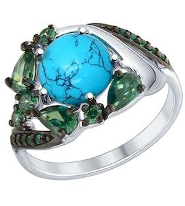 Кольцо из серебра с бирюзой (синт.) и фианитами 83010023