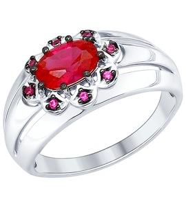 Кольцо из серебра с корундом рубиновым (синт.) и красными фианитами 84010026