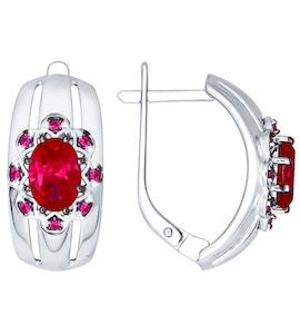 Серьги из серебра с корундами рубиновыми (синт.) и красными фианитами 84020025