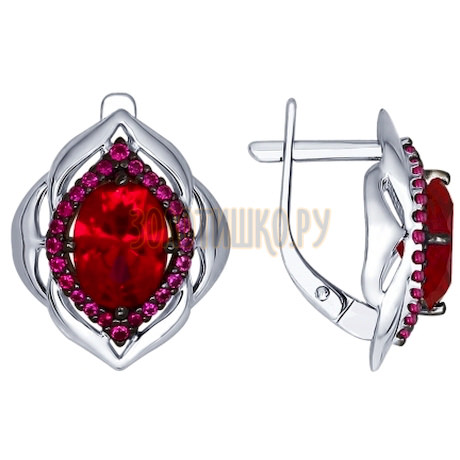 Серьги из серебра с корундами рубиновыми (синт.) и красными фианитами 84020029