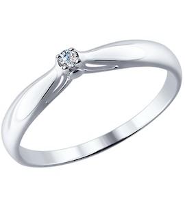 Помолвочное кольцо из серебра с бриллиантом 87010002