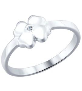 Кольцо  из серебра с бриллиантом «Удача» 87010010