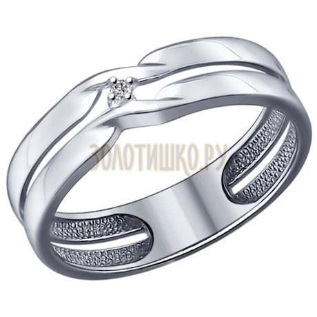 Кольцо из серебра с бриллиантом 87010014