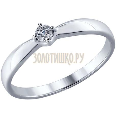 Кольцо из серебра с бриллиантом 87010015