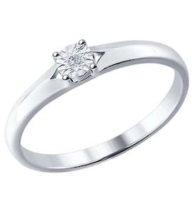 Помолвочное кольцо из серебра с бриллиантом 87010018