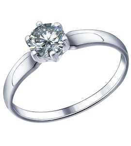 Помолвочное кольцо из серебра с фианитом 89010001