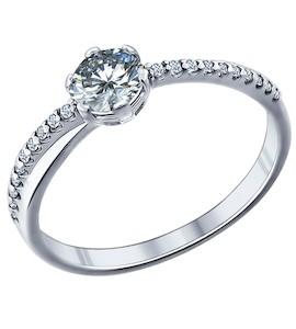 Помолвочное кольцо из серебра с фианитами 89010002