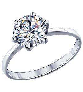 Помолвочное кольцо из серебра с фианитом 89010003
