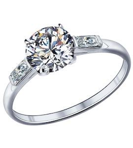 Помолвочное кольцо из серебра с фианитами 89010006