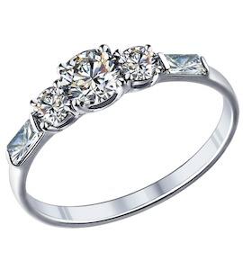 Помолвочное кольцо из серебра с фианитами 89010007
