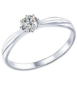 Помолвочное кольцо из серебра с фианитом 89010009