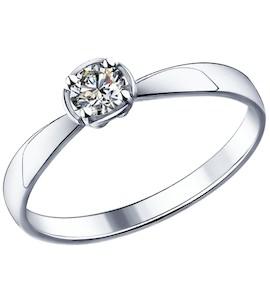 Помолвочное кольцо из серебра с фианитом 89010015