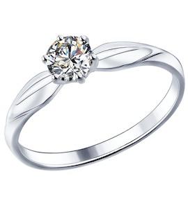 Помолвочное кольцо из серебра с фианитом 89010016