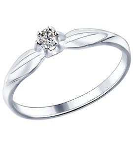 Помолвочное кольцо из серебра с фианитом 89010017