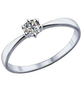 Помолвочное кольцо из серебра с фианитом 89010020