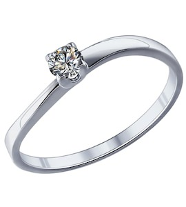 Помолвочное кольцо из серебра с фианитом 89010022