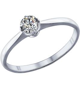 Помолвочное кольцо из серебра с фианитом 89010023