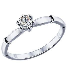 Помолвочное кольцо из серебра с фианитом 89010024