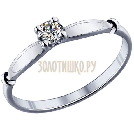 Серебряное помолвочное кольцо с фианитом 89010025