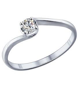 Помолвочное кольцо из серебра с фианитом 89010026
