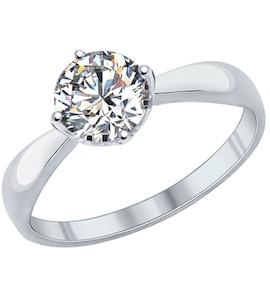 Помолвочное кольцо из серебра с swarovski zirconia 89010028