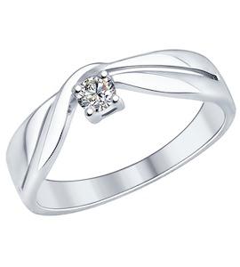 Кольцо из серебра с swarovski zirconia 89010039