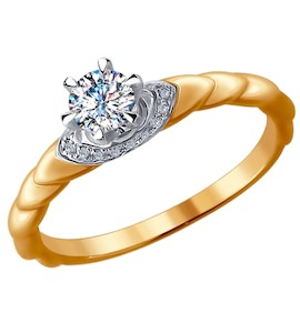Помолвочное кольцо из комбинированного золота с бриллиантами 9010037