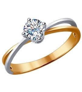 Помолвочное кольцо из комбинированного золота с бриллиантами 9010049
