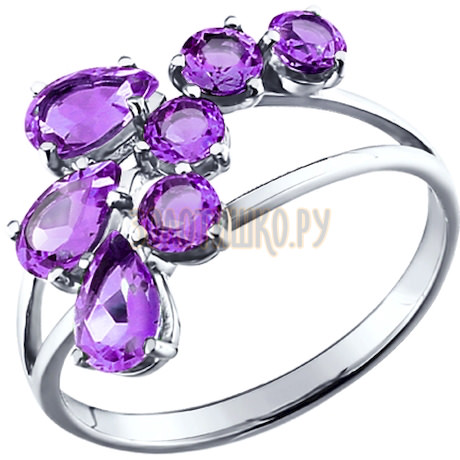 Кольцо из серебра c аметистами «Гладиолус» 92010002