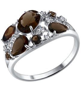Кольцо из серебра с раухтопазами и фианитами 92010222