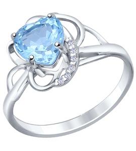 Кольцо love из серебра с топазом и фианитами 92010420