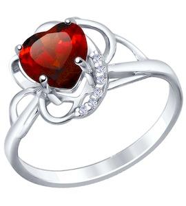 Кольцо love из серебра с гранатом и фианитами 92010421