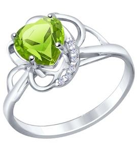 Кольцо love из серебра с фианитами и хризолитом 92010422