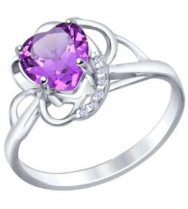 Кольцо love из серебра с аметистом и фианитами 92010423