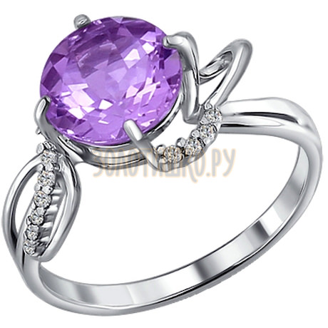 Кольцо из серебра с аметистом и фианитами 92010451
