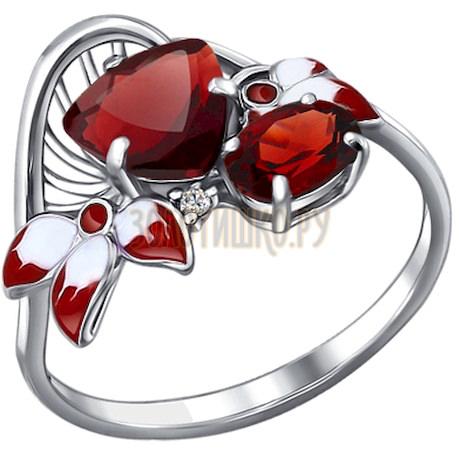 Кольцо из серебра с эмалью с гранатами и фианитом 92010502