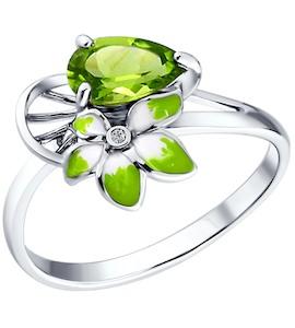 Серебряное кольцо с эмалью и хризолитами 92010514
