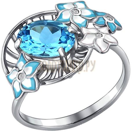 Кольцо из серебра с эмалью с топазом и фианитами 92010519