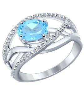 Кольцо из серебра с топазом и фианитами 92010589