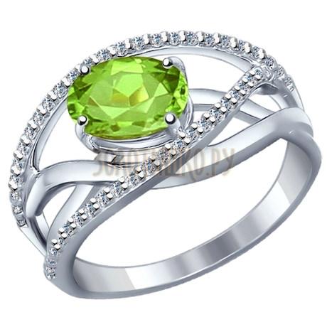 Кольцо из серебра с фианитами и хризолитом 92010591