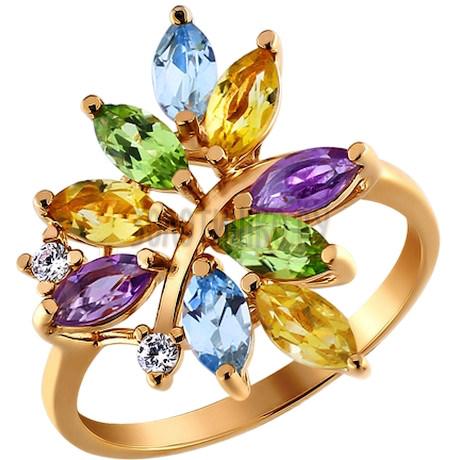 Кольцо из золочёного серебра с миксом камней 92010654