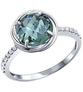 Классическое тонкое серебряное кольцо с крупным камнем 92010726